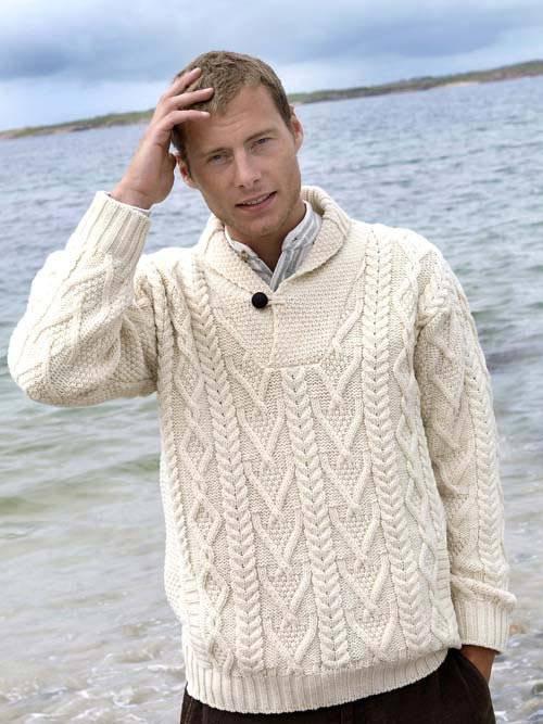 men's Irish wool sweaters - shawl collar sweater, SH41