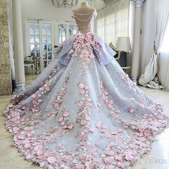 Charming Colorful Wedding Dresses Ball Gown 3D Floral Appliques .