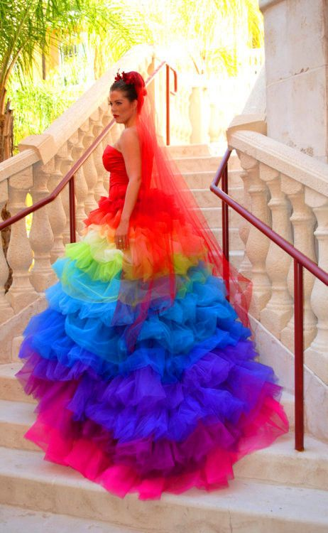 so colorful | Colors | Rainbow wedding dress, Colored wedding .