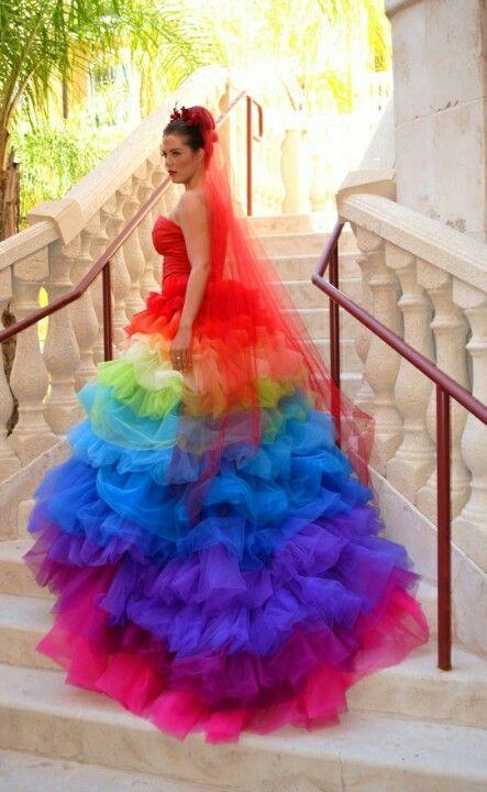 Colours Of Seneorita.... | Rainbow wedding dress, Rainbow wedding .