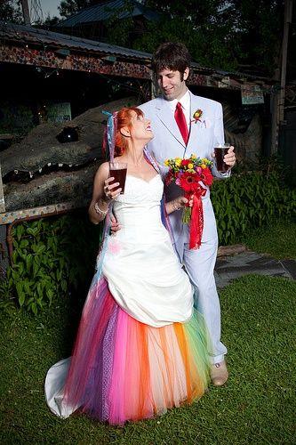 Unique Wedding Dress Ideas | Rainbow wedding dress, Rainbow .