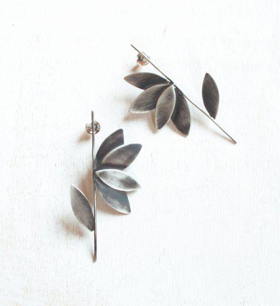 Contemporary jewelry, oxidized silver earrings, statement earrings .