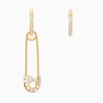 So Cool Pin Pierced Earrings, White, Gold-tone plated | Swarovski.c