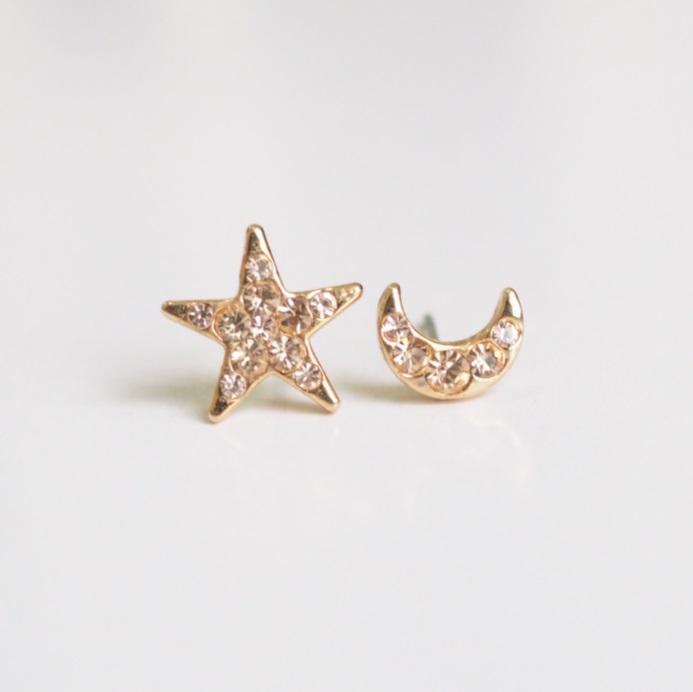 Gold Star And Moon Earrings, Stylish Earrings, Simple Earring .