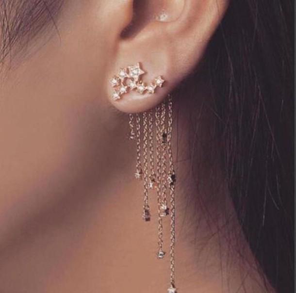 jewels, earrings, stars, front and back earrings, accessories, ear .
