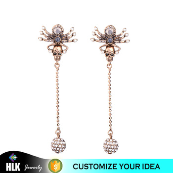 Fashion Rose Gold Earring,Skull And Spiders Long Drop Crystal .