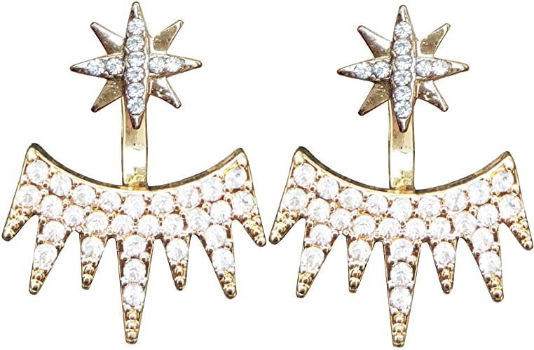 Amazon.com: Mina CZ Star Splatter Spikes Edgy Cool Ear Jacket Stud .