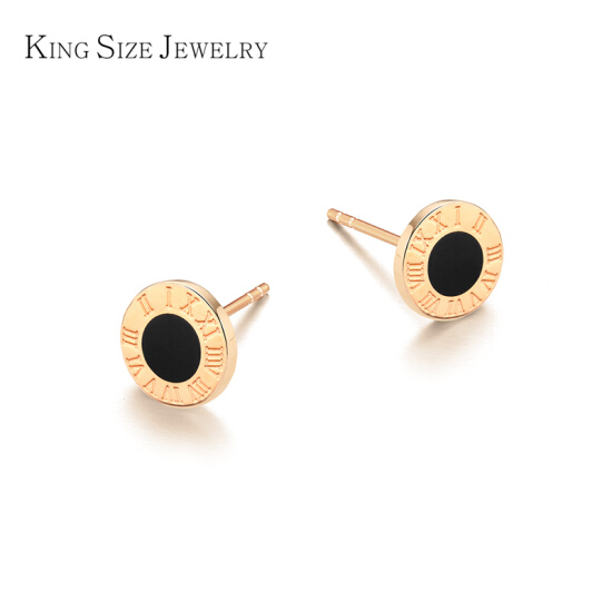 KING SIZE JEWELRY 18K gold earrings for men and women cool black .