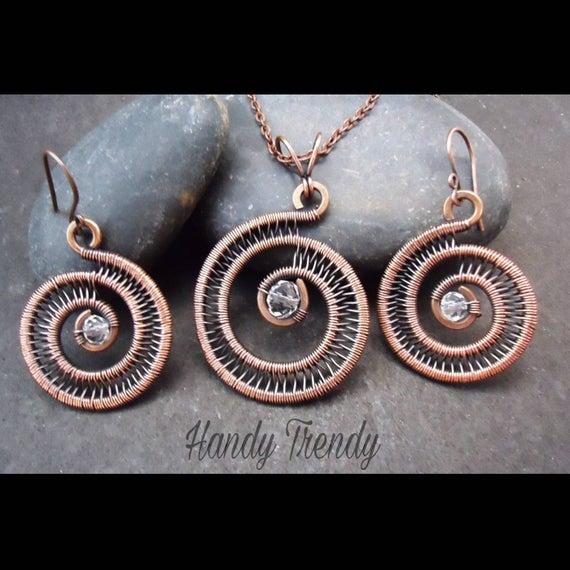 Spiral necklace set Copper Jewelry set Wire wrap jewelry   Et