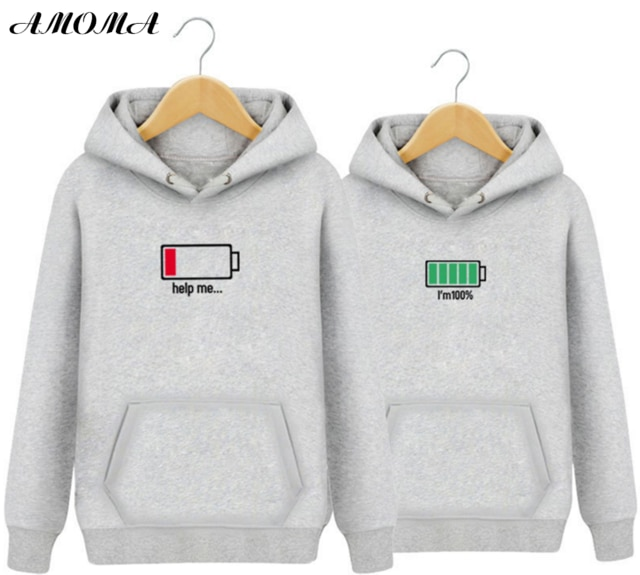 AMOMA Couple Hoodies For Lovers Fashion Pure Color Pullover With .