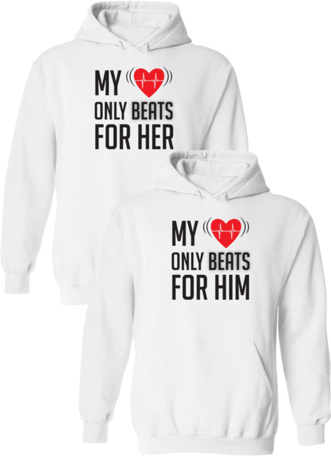 My Heart Only Beats For Her & Him - Couple Hoodies – Couples Appar