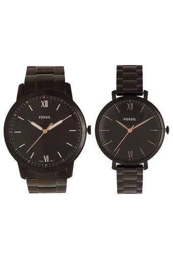 Buy FOSSIL Black Dial Metallic Analogue Couple Watch - FS5514SET .