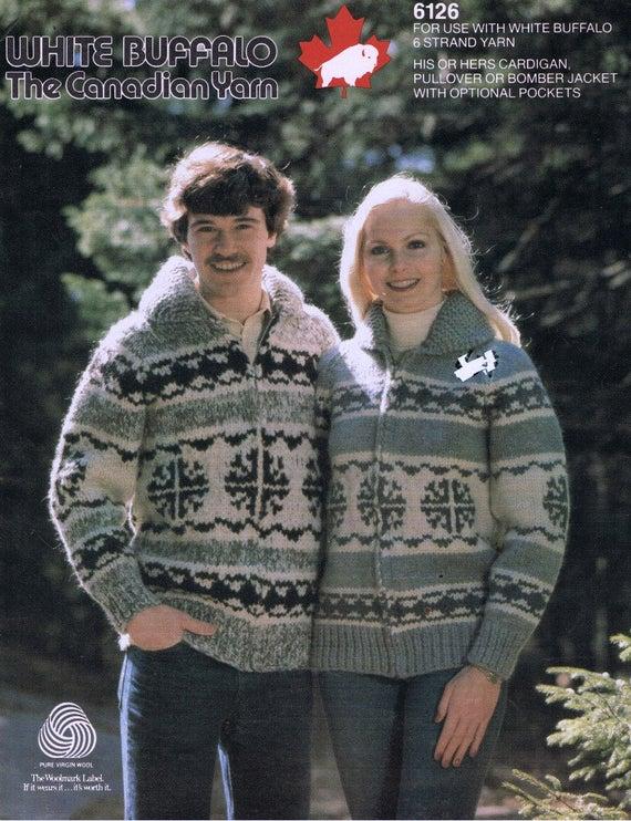 Cowichan Sweater Knitting Pattern White Buffalo Wool Zip | Et