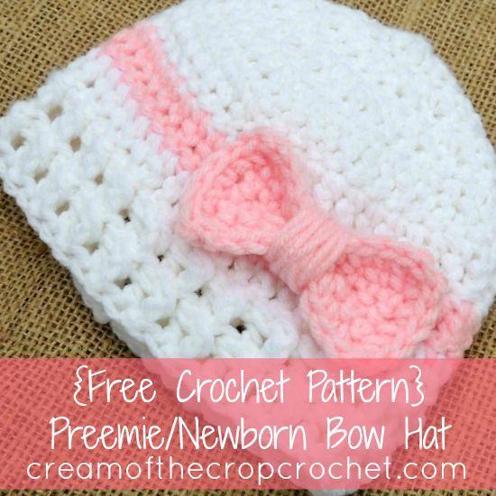 Preemie Newborn Bea Hat Crochet Pattern | Crochet baby hats free .