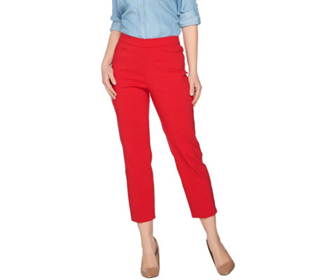 "As Is"" Susan Graver Regular Ultra Stretch Pull-On Crop Pants ."