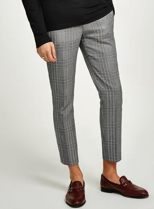 Light Grey Check Skinny Crop Pants | Pants outfit men, Pants .