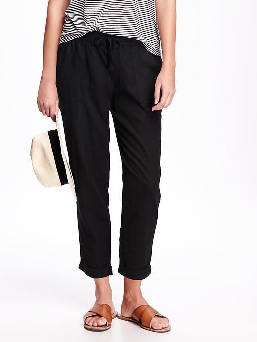 Linen-Blend Cropped Pants for Women (With images) | Linen blend .