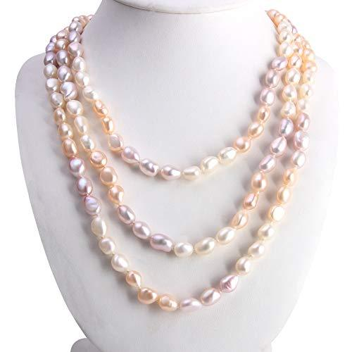 Freshwater Cultured Pearl Necklace, Genuine White, Pink, Purple .