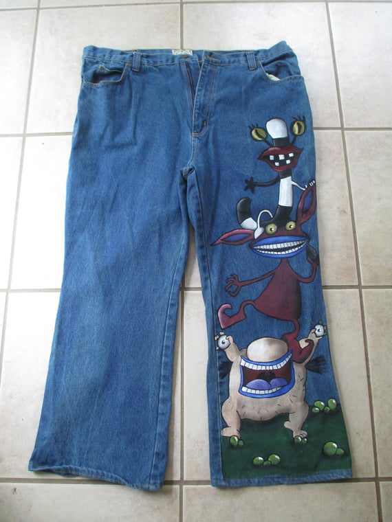 AHHH Real Monsters custom jeans custom clothes comics | Et