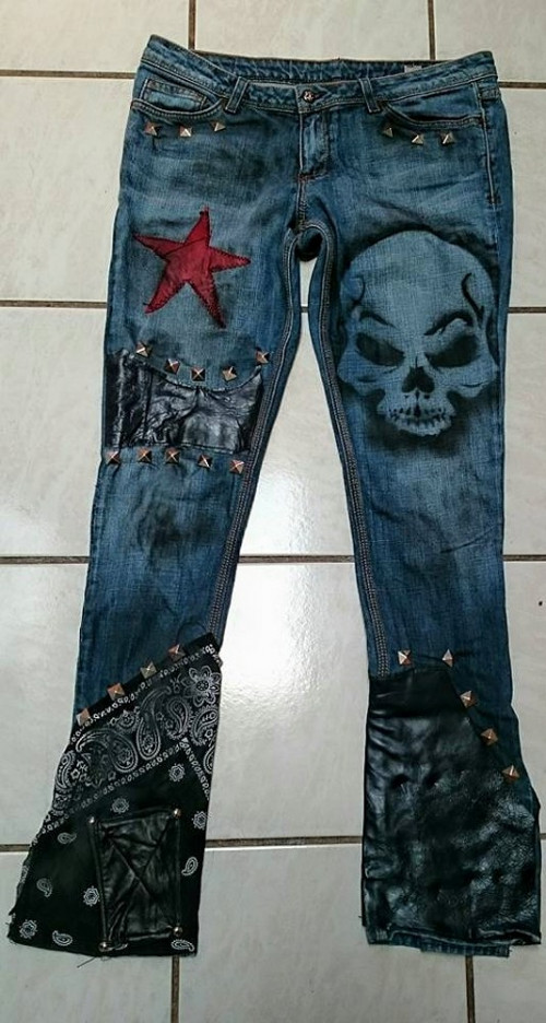Custom Jeans rock n roll grunge pants Skulls and stars 31x33 .