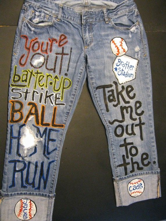 Custom JEANS for Take me out to the ballgame Send me your jeans to .