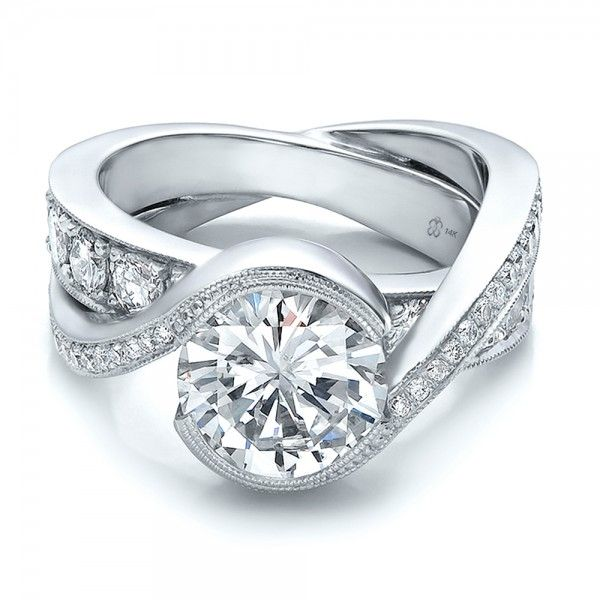 Custom Interlocking Diamond Engagement Ring | Custom wedding rings .