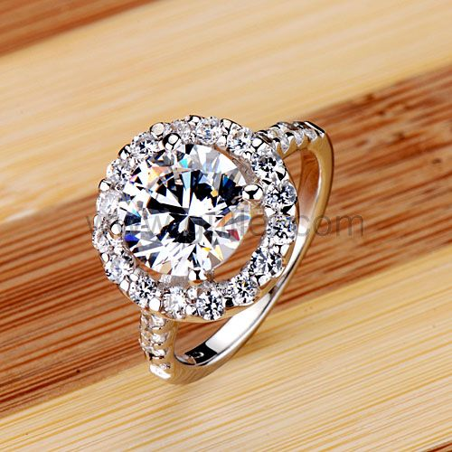 Custom Engraved 3 Carat Diamond Wedding Ring for Women .