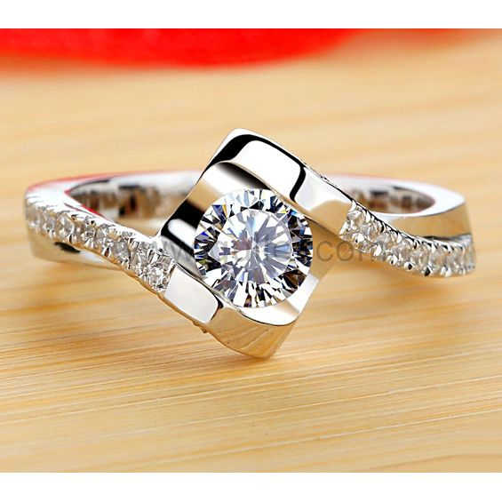 0.3 Carat NSCD Diamond Custom Name Wedding Ring Personalized .