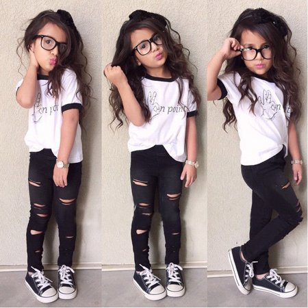 Canis - Cute Baby Girls Outfits Tops+Ripped Legging Trousers 2pcs .