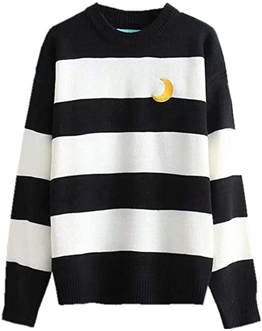 Packitcute Striped Knitted Sweater, Long Sleeve Moon Embroidery .