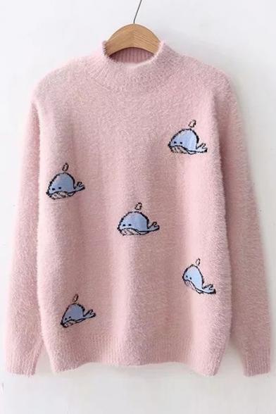 Cute Whale Pattern Mock Neck Long Sleeve Sweater - takeluckhome.c