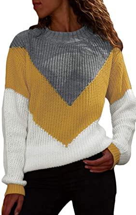 Amazon.com: HOTAPEI Ladies Plus Size Sweaters Cute Color Block .