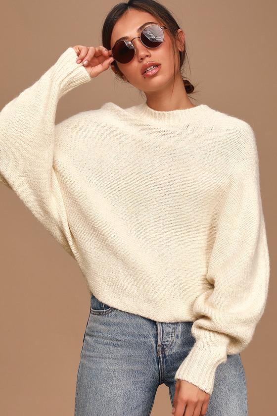 Cute Cream Sweater - Dolman Sleeve Sweater - Knit Sweat
