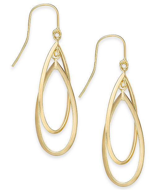 Macy's Double Hoop Dangle Drop Earrings in 14k Gold & Reviews .