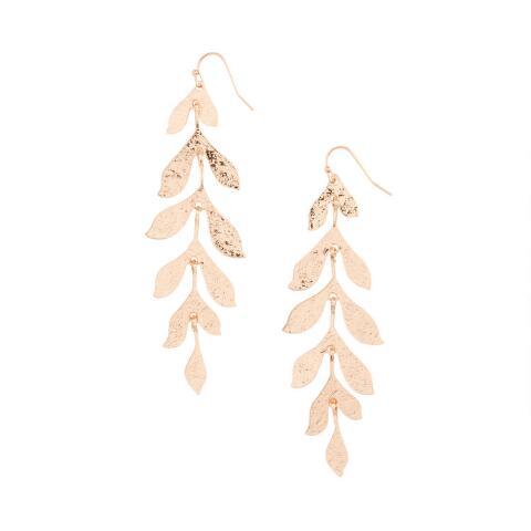 Gold Textured Long Leaf Dangle Earrings | World Mark