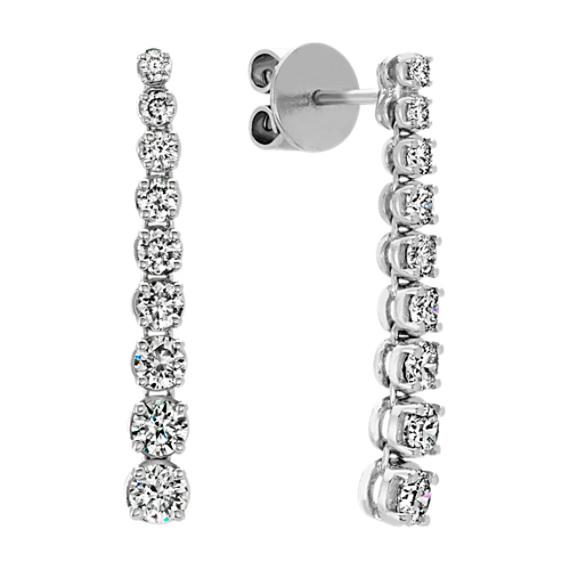 Round Diamond Dangle Earrings in 14k White Gold | Shane C