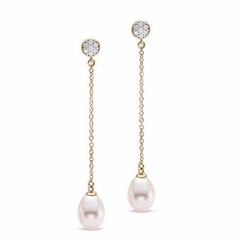 James Free Pave Diamond Top Freshwater Pearl Dangle Earrin