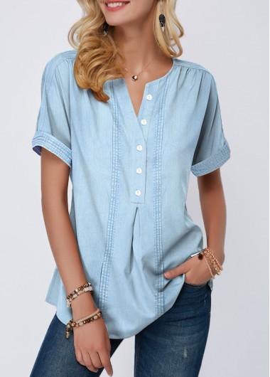 Button Front Roll Sleeve Split Neck Denim Blouse | Trendy fashion .