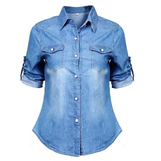 2015 Fashion Women's Long Sleeve Denim Blouse Office lady Shirt .