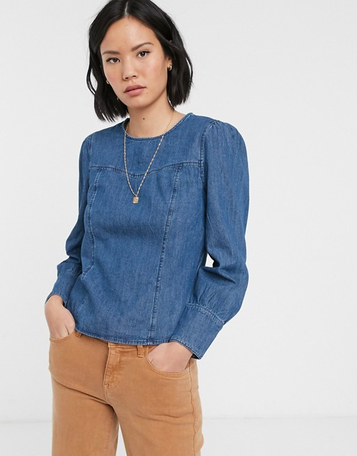 Only denim blouse with puff shoulder in blue | AS