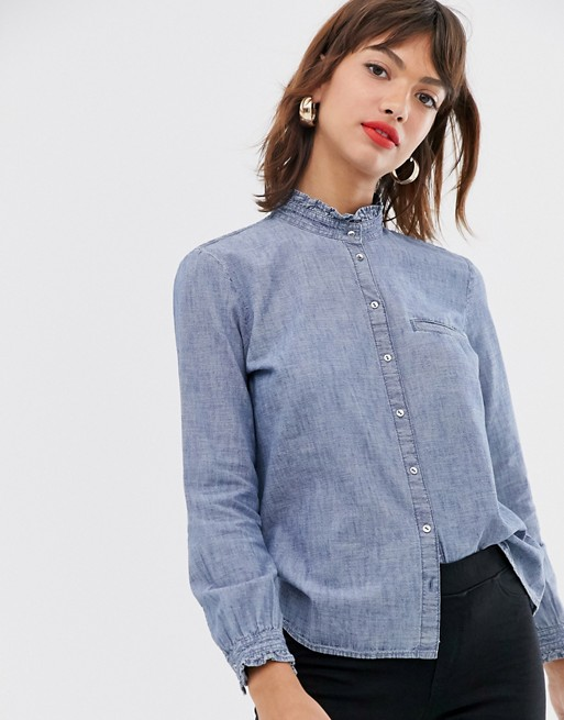 Esprit ruffle detail denim blouse in blue | AS