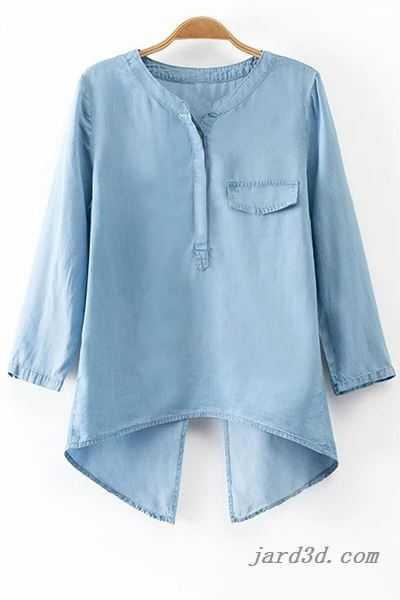 Back Slit Stand Neck 3/4 Sleeve Denim Blouse LIGHT BLUE - Women's .