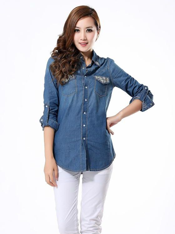 Hot New Lady Single-breasted Double Pockets Denim Blou