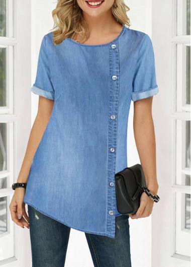 Asymmetric Hem Button Detail Round Neck Denim Blouse | Womens .