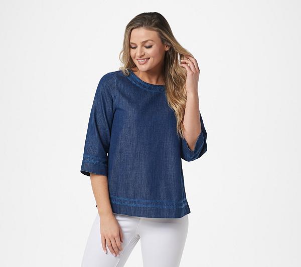 Martha Stewart 3/4-Sleeve Denim Blouse with Contrast Stitching .