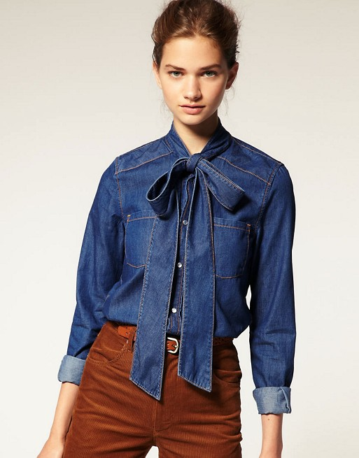 ASOS Pussy Bow Denim Blouse | AS