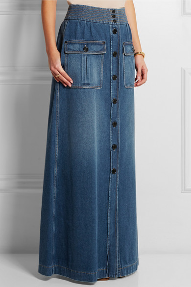 Chloé | Denim maxi skirt | NET-A-PORTER.C