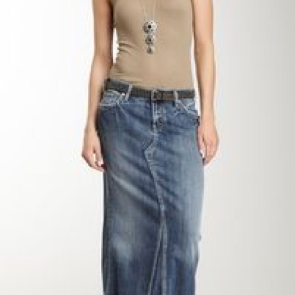 Silver Jeans Skirts | Boho Chic Adele Denim Maxi Skirt | Poshma