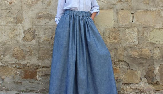 New SS16 Denim Maxi Skirt, Long Skirt, Skirt with pockets, Party .