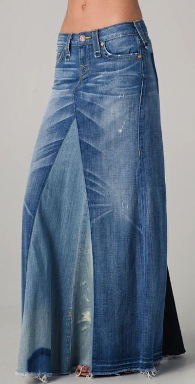 Recycled denim maxi skirt DIY tutorial | Diy maxi skirt, Recycled .